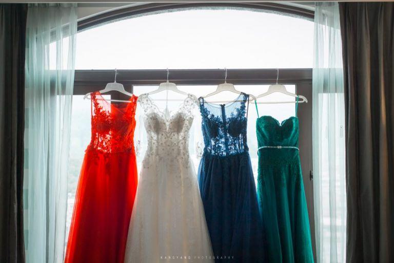 清點婚紗禮服西服等等配件