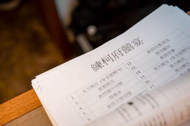婚禮流程表、婚禮桌次表