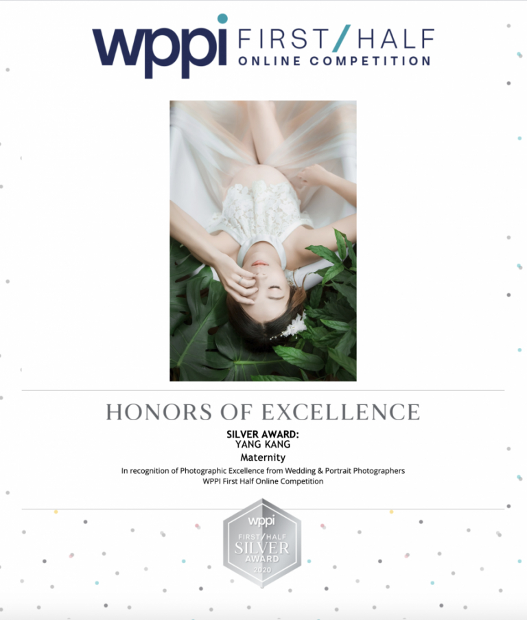SILVER AWARD: YANG KANG Maternity In recognition of Photographic Excellence from Wedding & Portrait Photographers WPPI First Half Online Competition